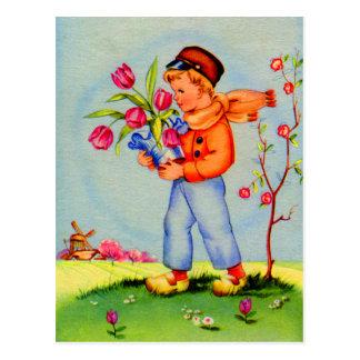 Jongen van de Schoenen van Holland van de vintage Briefkaart