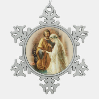 Jonggehuwde St. Joseph Mary Wedding Tin Sneeuwvlok Ornament