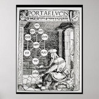 Joodse cabbalist die een sephiroth houden poster