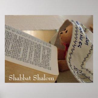 Joodse Teddybeer die tallit Shabbat Shalom dragen Poster