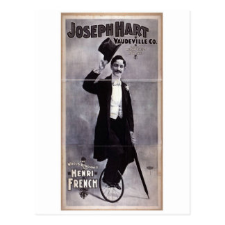 "Joseph Hart Vaudeville, ""Henry French"" Retro Theat Briefkaart"