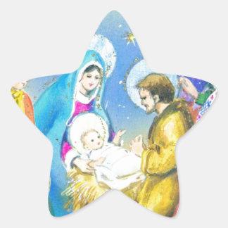 Joyeuse Noel, Vintage Franse Kerstkaart Ster Sticker