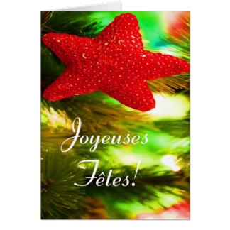 Joyeuses Fêtes et bonne année Rode Ster Wenskaart