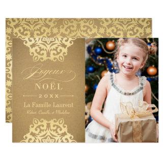 Joyeux Noël Carte-Photo   Papier Kraft et Or Kaart
