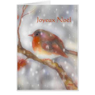 joyeux noel Robin en sneeuwvlokken Wenskaart
