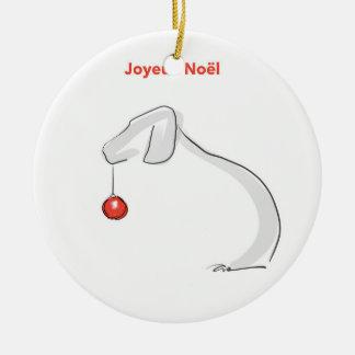 Joyeux Noël Weimaraner Rond Keramisch Ornament