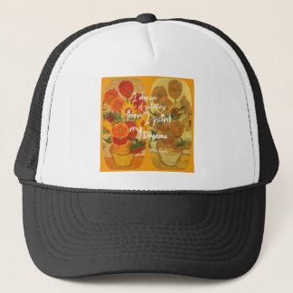 Joyous en droevige zonnebloemen trucker pet