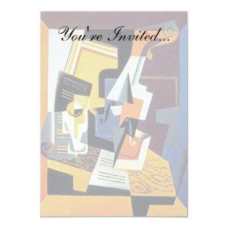 Juan Gris - Art. van het Kubisme van de Viool en 12,7x17,8 Uitnodiging Kaart