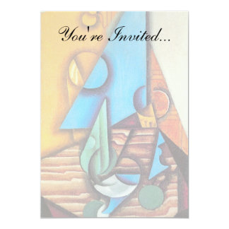 Juan Gris - Fles & Glas op een Abstract Art. van 12,7x17,8 Uitnodiging Kaart