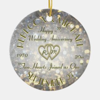 Jubileum Twee van het huwelijk Harten Rond Keramisch Ornament