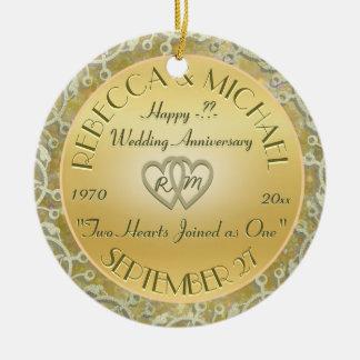 Jubileum van het Huwelijk van het Huwelijk van de Rond Keramisch Ornament