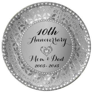 Jubileum van het zilver en het 10de van het porseleinen bord