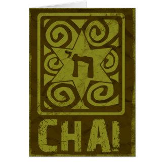 Judaica: Verontruste Jodenster met Chai in Goud Kaart