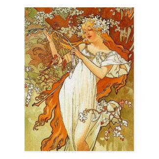 Jugendstil Alphonse Mucha Spring Postcard Briefkaart