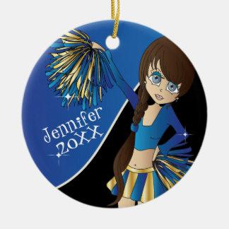 Juich Blauw Meisje Cheerleader toe Rond Keramisch Ornament