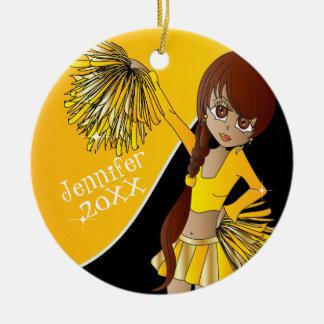Juich Geel Meisje Cheerleader toe Rond Keramisch Ornament