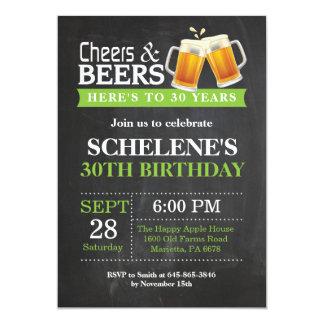 Juicht toe en van Bieren dertigste de Kaart van de 12,7x17,8 Uitnodiging Kaart