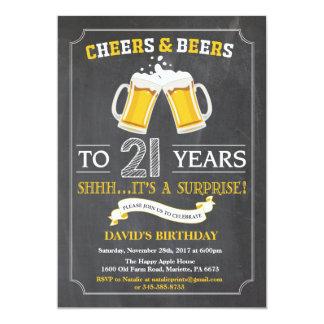 Juicht toe en van Bieren eenentwintigste de Kaart 12,7x17,8 Uitnodiging Kaart