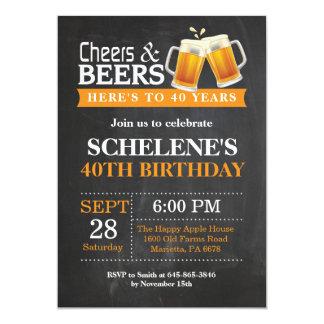 Juicht toe en van Bieren veertigste de Kaart van 12,7x17,8 Uitnodiging Kaart