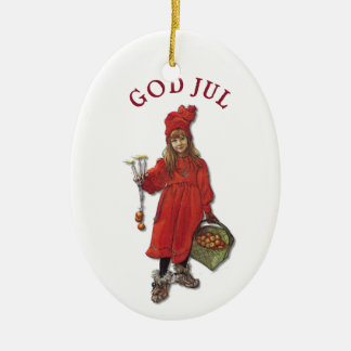 Juli van de God van Carl Larsson met Brita - Keramisch Ovaal Ornament