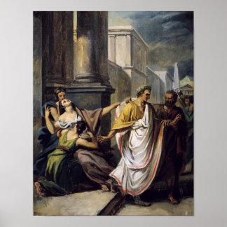 Julius Caesar op zijn manier aan de Senaat Poster