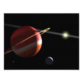 Jupiter-Massa een planeet die de nabijgelegen ster Foto Afdruk