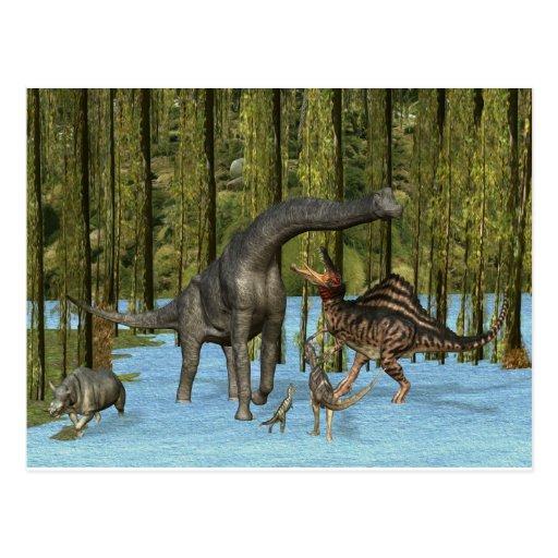 Jura Dinosaurussen in een Bemost Moeras Wenskaarten