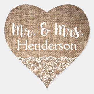 Jute & Kant, M. & Mevr. Stickers- Wedding Favors Hart Sticker