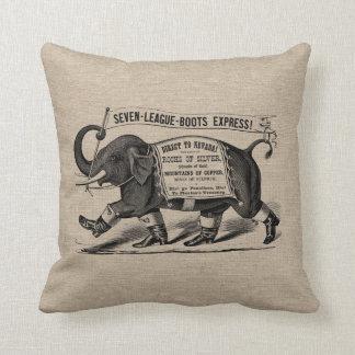 Jute van het de jutelinnen van de vintage olifants sierkussen