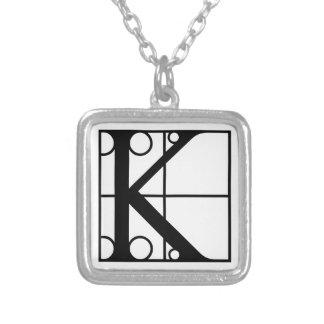 K- Aanvankelijke typografie Zilver Vergulden Ketting
