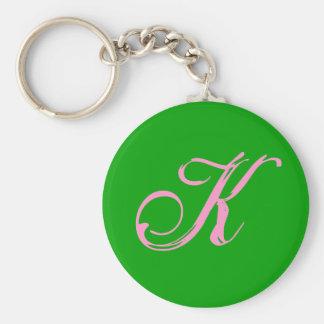 , K Keychain Basic Ronde Button Sleutelhanger