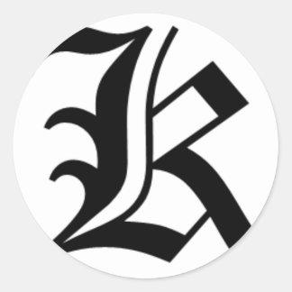 K-tekst het Oude Engels Ronde Sticker