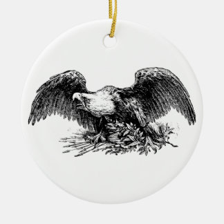 Kaal Eagle boven Pijlen en een Tak van de Olijf Rond Keramisch Ornament