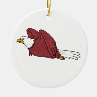 Kaal Eagle die Cartoon vliegen Rond Keramisch Ornament
