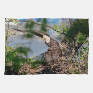 Kaal Eagle die het nest verlaten Theedoek