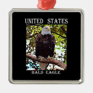Kaal Eagle Zilverkleurig Vierkant Ornament