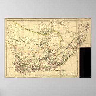 Kaap van Goede Hoop 1842 Antiek Kaart van Poster