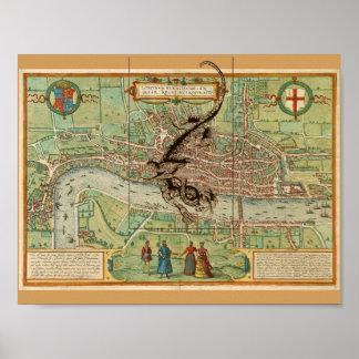 Kaart 1600 van Londen met Draak Poster