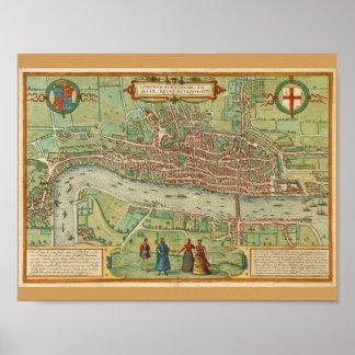 Kaart 1600 van Londen Poster