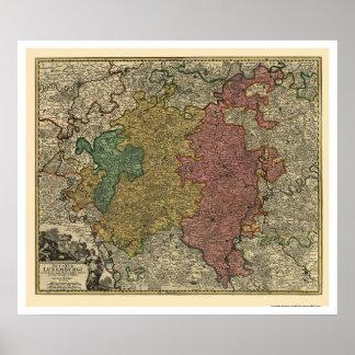 Kaart 1712 van Luxemburg Europa Poster
