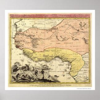 Kaart 1743 van West-Afrika Poster
