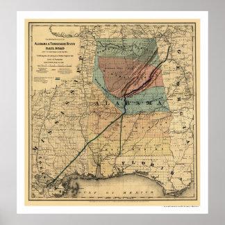 Kaart 1867 van de Spoorweg van Alabama & van Poster