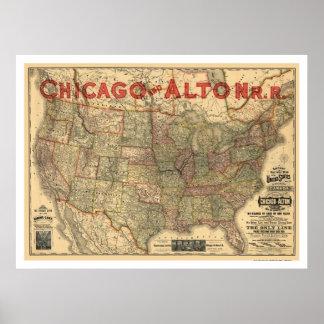 Kaart 1883 van de Spoorweg Chicago & Alton Poster
