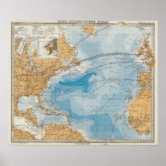 Kaart de Noord- van de Atlantische Oceaan Poster