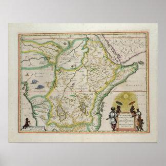 Kaart die van Ethiopië vijf Afrikaanse staten tone Poster