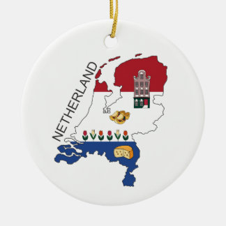 Kaart en Fkag van Nederland Rond Keramisch Ornament