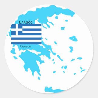 Kaart en Vlag van Griekenland Ronde Sticker