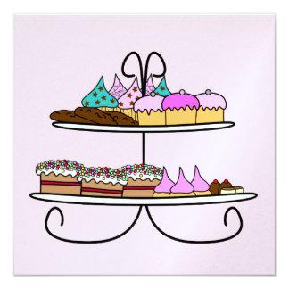 kaart high tea met cupcakes 13,3x13,3 vierkante uitnodiging kaart