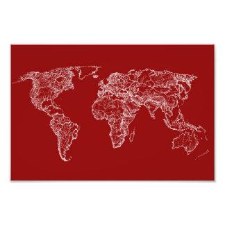 Kaart in rood fotografische afdruk