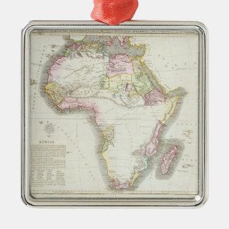 Kaart van Afrika, 1821 Zilverkleurig Vierkant Ornament